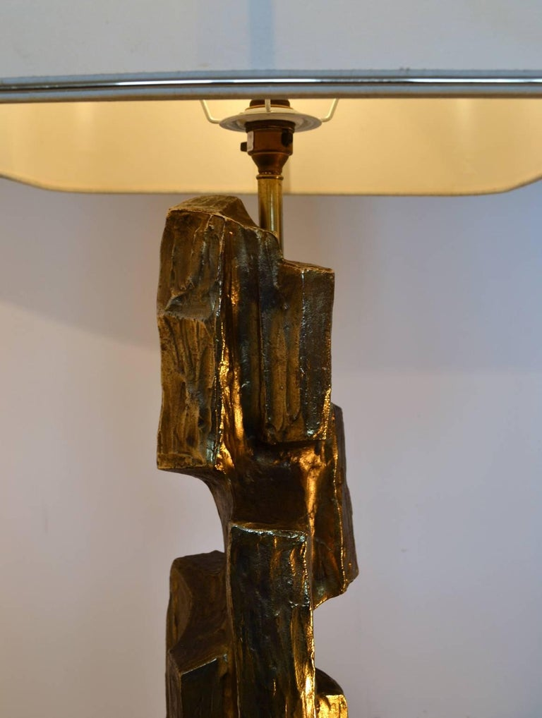Metal Large Brutalist SculpturalTable Lamp by Maurizio Tempestini 1970s For Sale