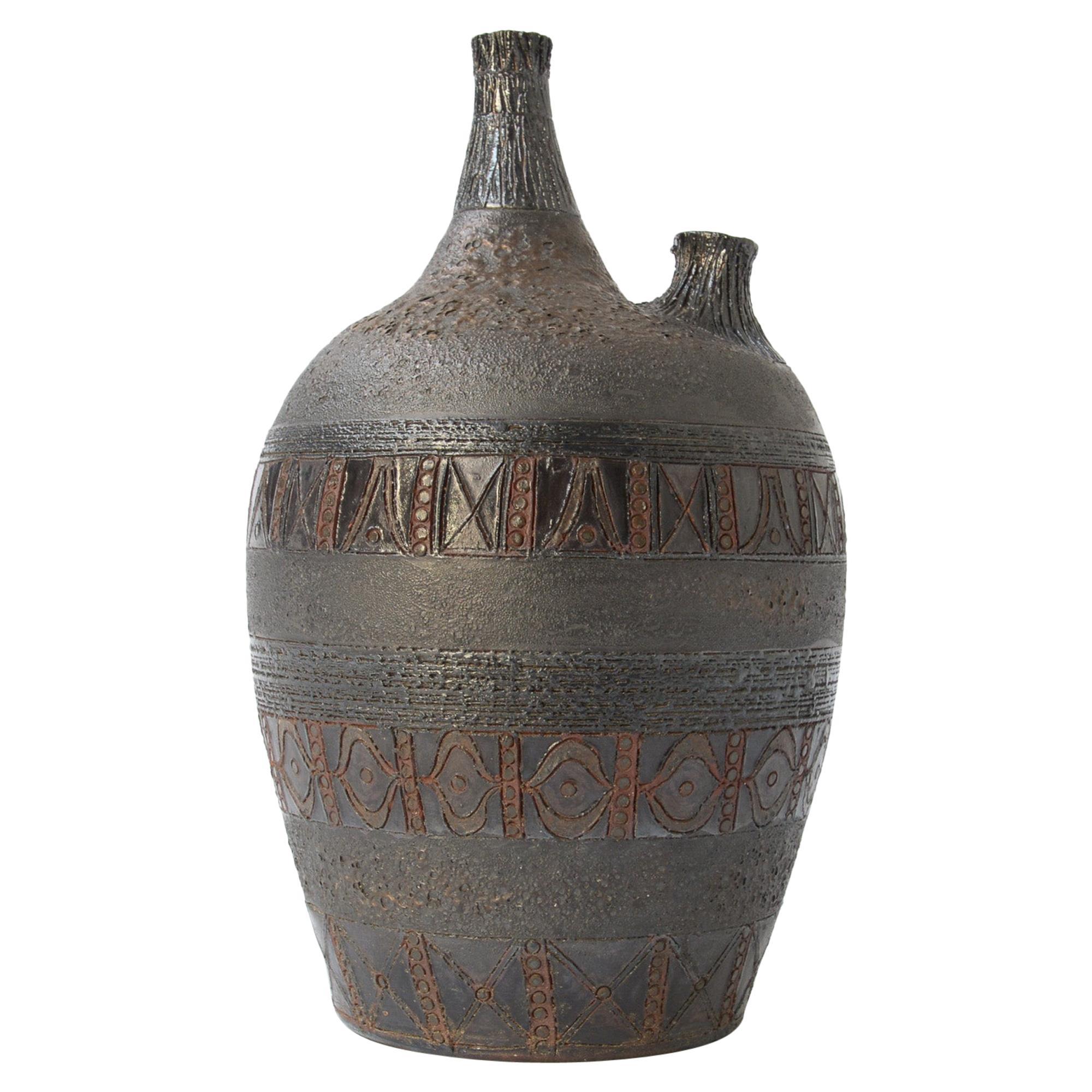 Large Brutalist Double-Spout Amphora Vase