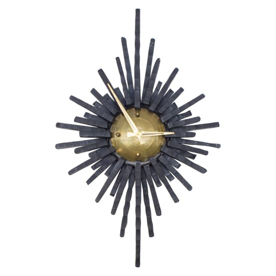 Large Brutalist Handcrafted Iron Sunburst Wall Clock, Germany, 1960s