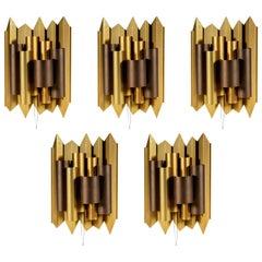 Large Brutalist Metal Sconces Gold and Bronze color Set of 5