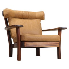 Large Brutalist Midcentury Rosewood and Leather 'Ox' Lounge Chair, 1960s