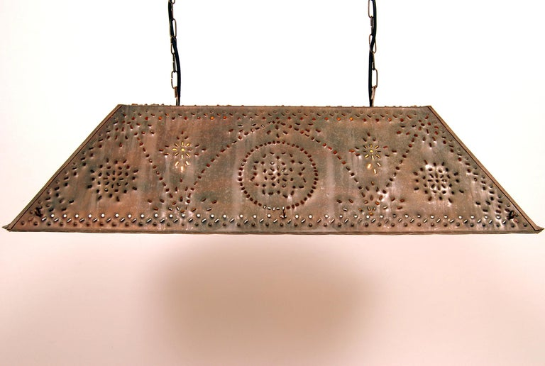 Large ceiling pendant in patinated copper. Swedish Brutalist art designed and manufactured by Olle Malm. Adjustable ceiling height. Signed. Rewired with black textile cord.