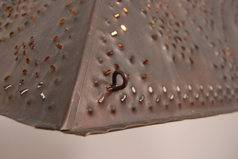 Large Brutalist Pendant in Patinated Copper by Olle Malm For Sale 1