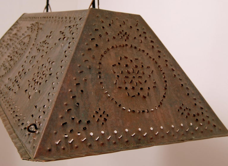 Large Brutalist Pendant in Patinated Copper by Olle Malm For Sale 2