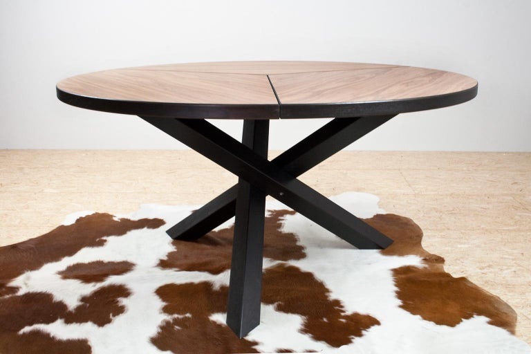 Ebonized Large Brutalist Round Walnut Dining Table Tripod in Style of Dutch Modernisme For Sale