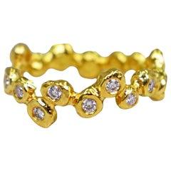 Large Bubble Diamond 22 Karat Gold Band Ring