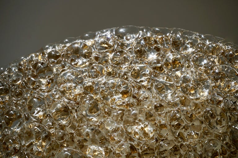 Italian Large Bubble Glass Flush Mount Helena Tynell Style, 1960s For Sale