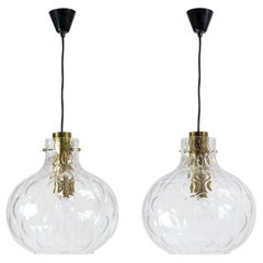 Large Bubble Glass Pendants by Limburg, circa 1970