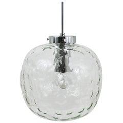 Large Bubble Melting Glass and Chrome Globe Pendant Lamp, Germany, 1970s
