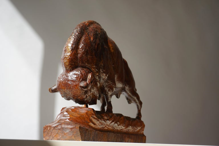 Large Buffalo or Bison in Wood For Sale 1