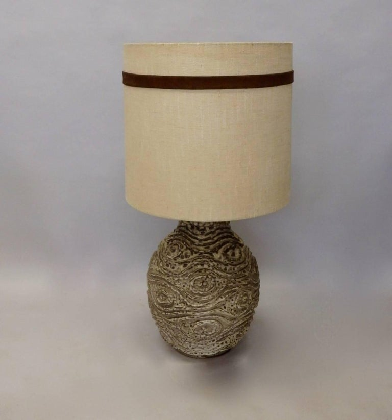American Large Bulbous Form Pottery Table Lamp with Raised Textured Design For Sale