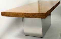 Large Burl and Chrome Executive Desk