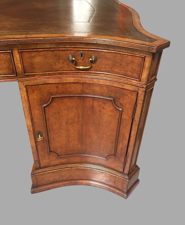 Large Burl Elm Serpentine Partners Desk with Gilt-Tooled Leather Top In Good Condition For Sale In San Francisco, CA