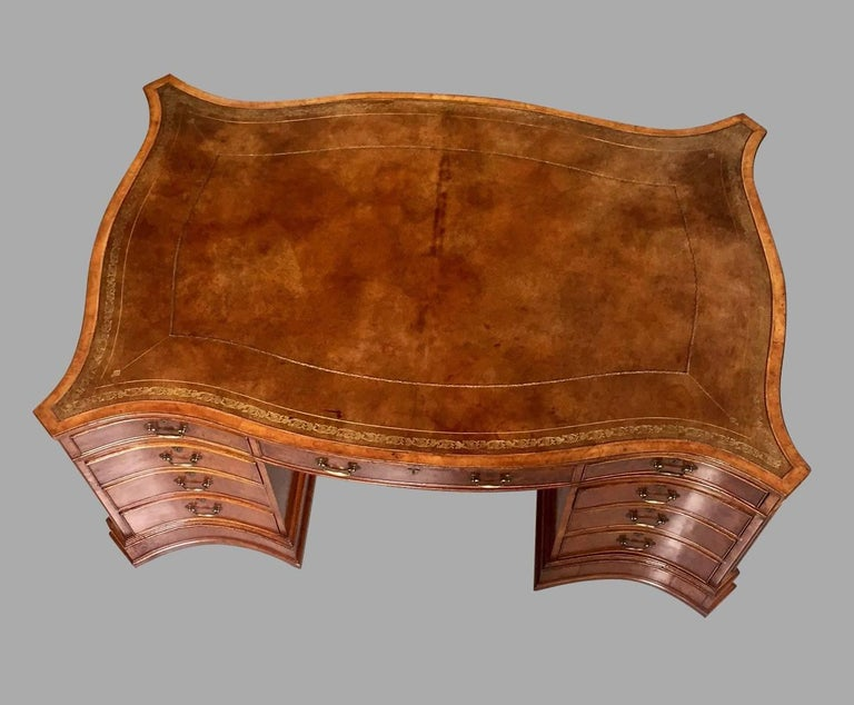 20th Century Large Burl Elm Serpentine Partners Desk with Gilt-Tooled Leather Top For Sale