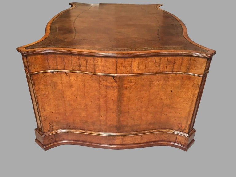 Large Burl Elm Serpentine Partners Desk with Gilt-Tooled Leather Top For Sale 1