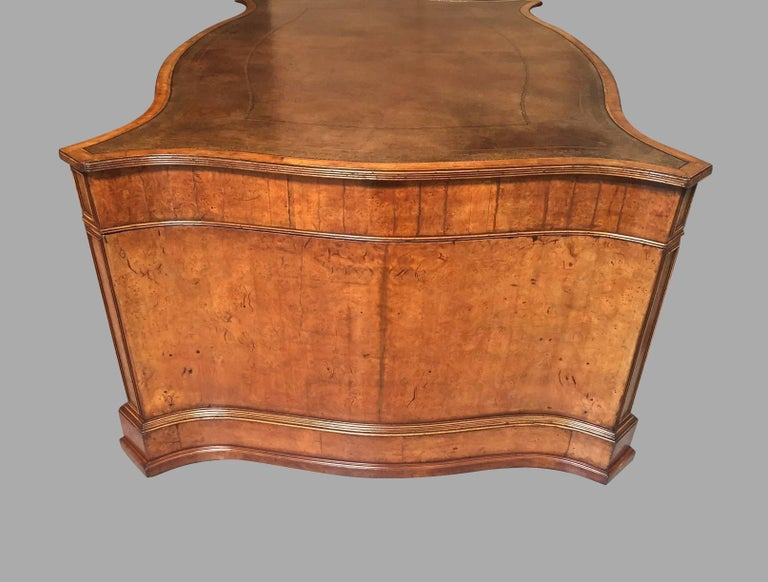 Large Burl Elm Serpentine Partners Desk with Gilt-Tooled Leather Top For Sale 2