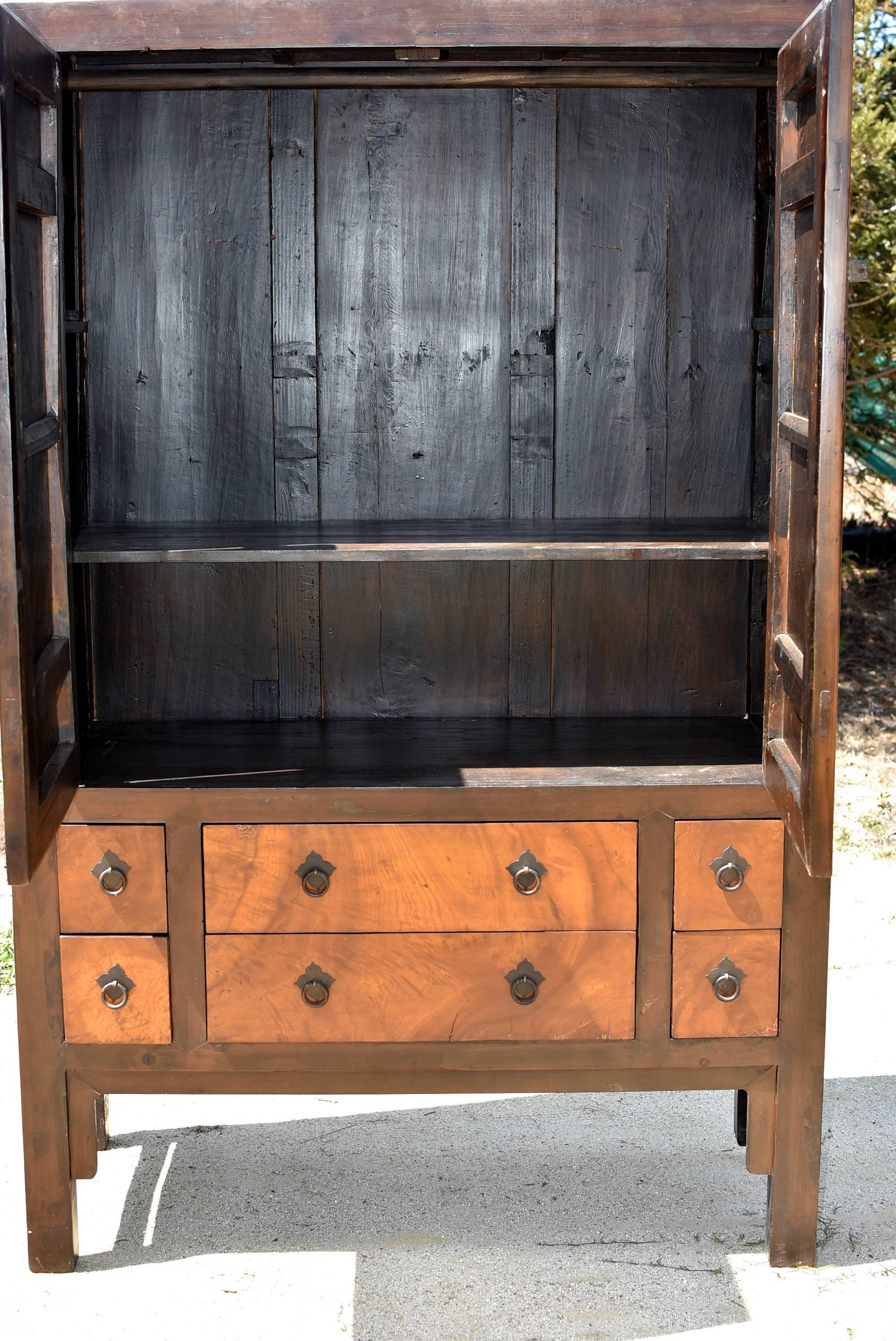 Joinery Large Burl Wood Armoire, Brown And Gold Burl Wood Cabinet For Sale