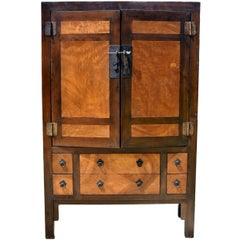 Large Burl Wood Armoire, Brown and Gold Burl Wood Cabinet