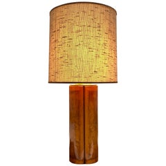 Large Burl Wood and Brass Table Lamp, Early 1980s
