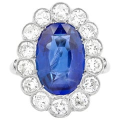 Large Burma Sapphire and Diamond Cluster Ring