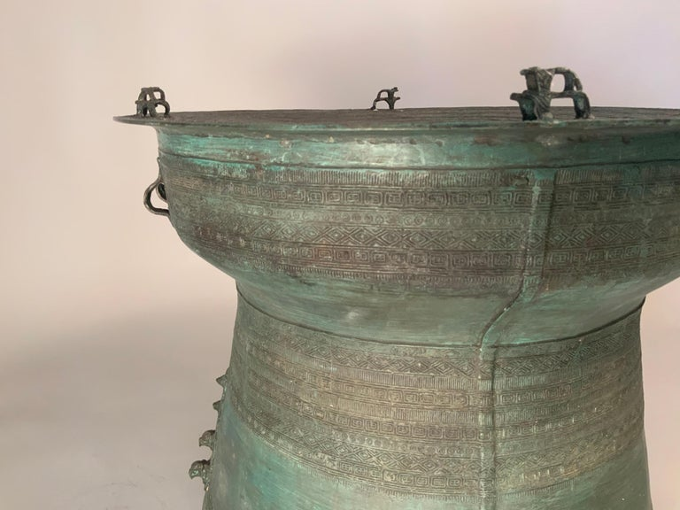 Large Burmese Bronze Rain Drum Table In Good Condition For Sale In Hudson, NY