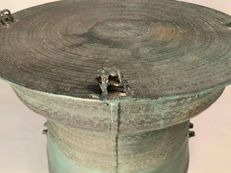 Large Burmese Bronze Rain Drum Table For Sale 1