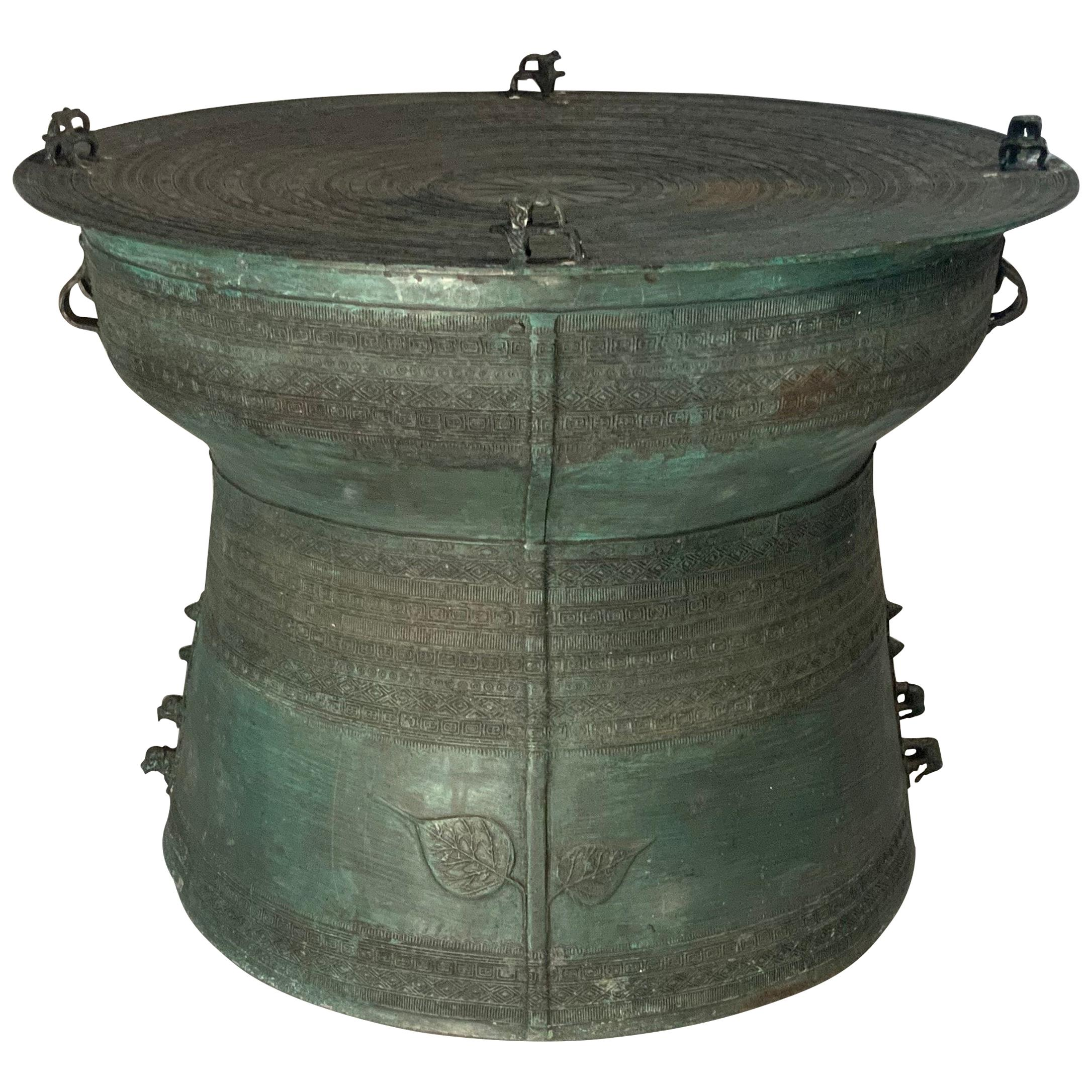 Large Burmese Bronze Rain Drum Table