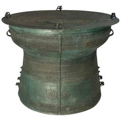 Large Burmese Bronze Rain Drum Table