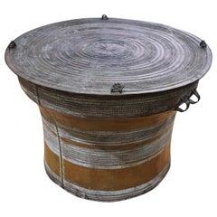 Large Burmese Circular Rain Drum End Table in Bronze Early 20th Century