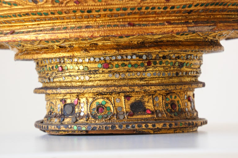 Bamboo Large Burmese Gilt and Lacquered Wood Temple Offering Basket For Sale