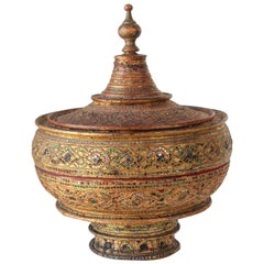 Large Burmese Gilt and Lacquered Wood Temple Offering Basket