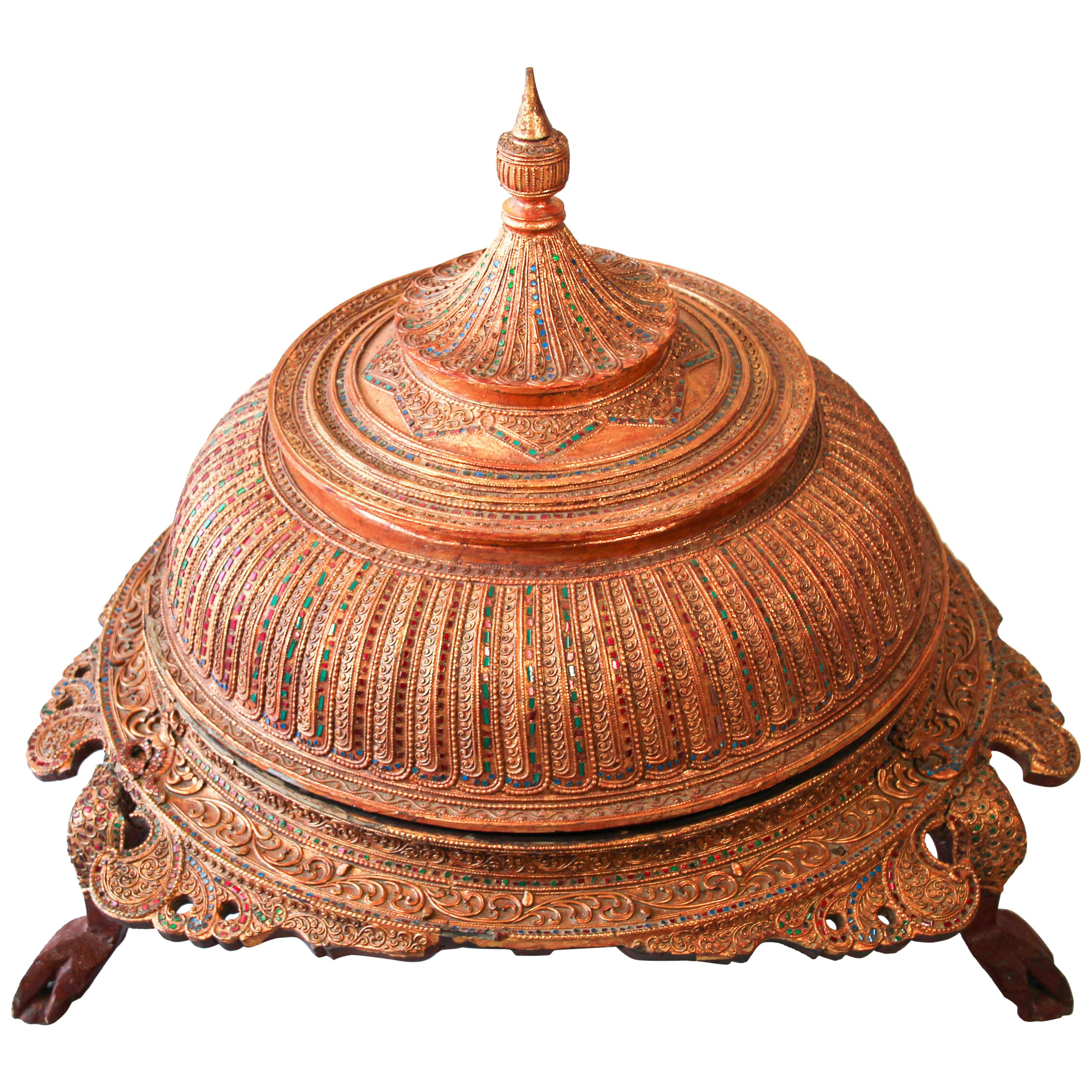 Large Burmese Gilt and Lacquered Wood Temple Offering Vessel