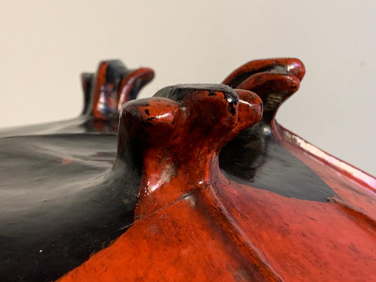 Large Burmese Red Lacquer Large Offering Bowl, Late 19th or Early 20th Century For Sale 4