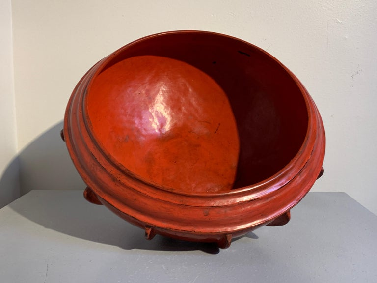 Large Burmese Red Lacquer Large Offering Bowl, Late 19th or Early 20th Century For Sale 1