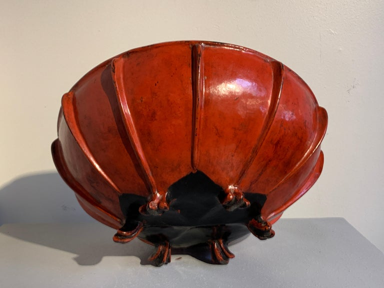 Large Burmese Red Lacquer Large Offering Bowl, Late 19th or Early 20th Century For Sale 2