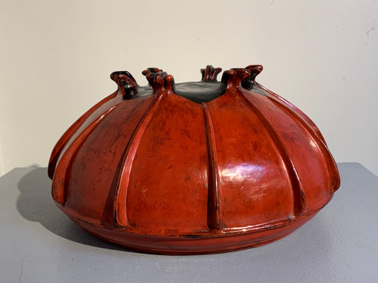Large Burmese Red Lacquer Large Offering Bowl, Late 19th or Early 20th Century For Sale 3