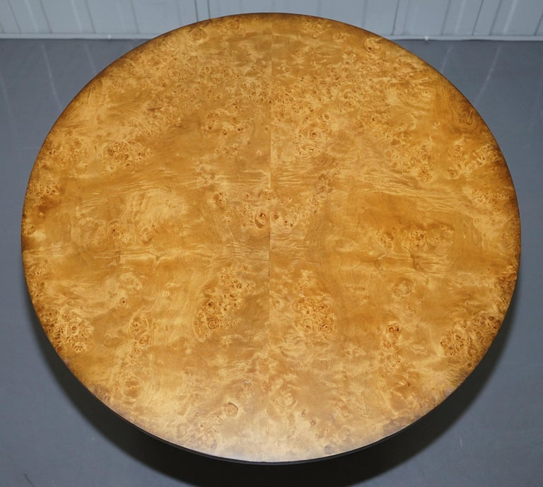 Modern Large Burr Walnut Cocktail Coffee Low Table Nicely Carved Legs Great Patina For Sale