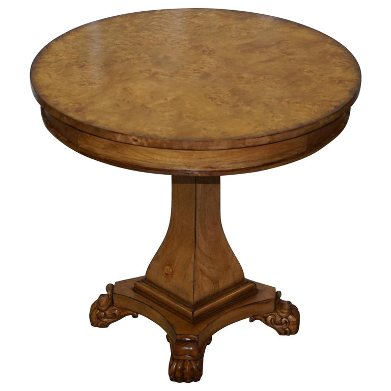Large Burr Walnut Cocktail Coffee Low Table Nicely Carved Legs Great Patina For Sale