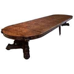 Large Burr Walnut Extending Dining Table or Boardroom Table, circa 1851
