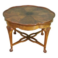 Large Burr Walnut Shaped Top Coffee Table