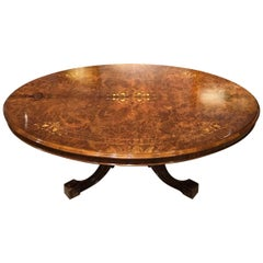 Large Burr Walnut Victorian Period Antique Oval Coffee Table