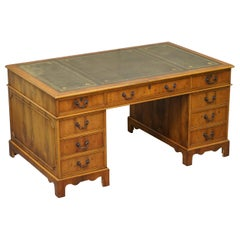 Large Burr Yew Wood & Green Leather Twin Pedestal Partner Desk Lovely Timber