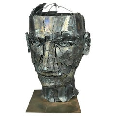 Mid Century Modern Large Bust Sculpture Brutalist Man of Torch Cut Metal