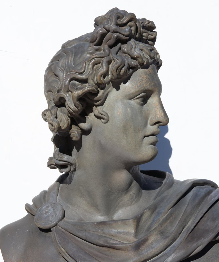 Large Bust of Apollo Belvedere Twice Life-Size In Good Condition For Sale In Rochester, NY