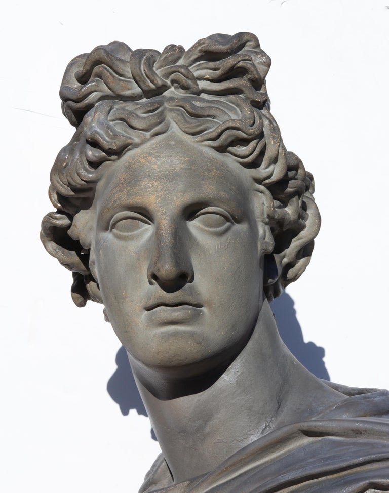 19th Century Large Bust of Apollo Belvedere Twice Life-Size For Sale