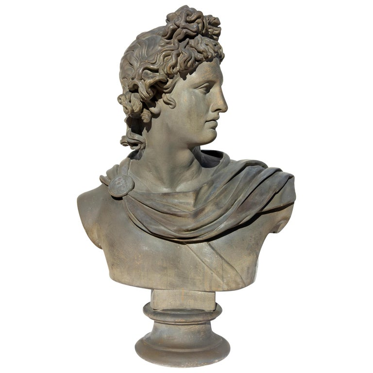 Large Bust of Apollo Belvedere Twice Life-Size For Sale