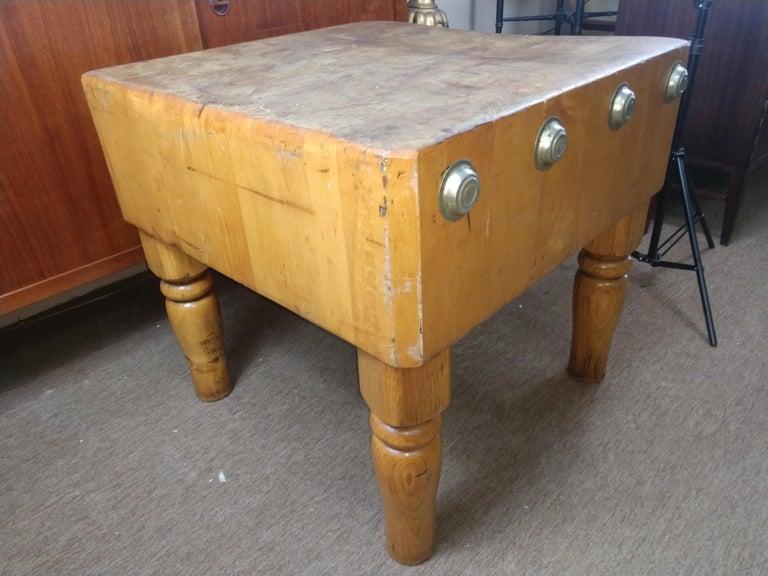 Large Butchers Block Table, C1920 For Sale 2