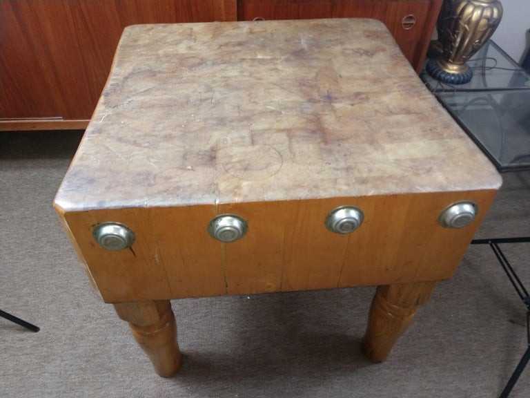 Early 20th Century Large Butchers Block Table, C1920 For Sale
