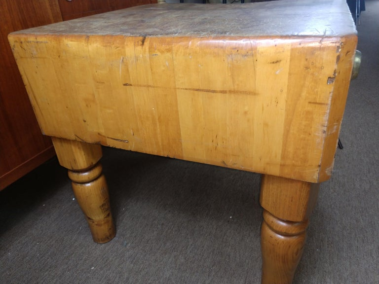 Chestnut Large Butchers Block Table, C1920 For Sale
