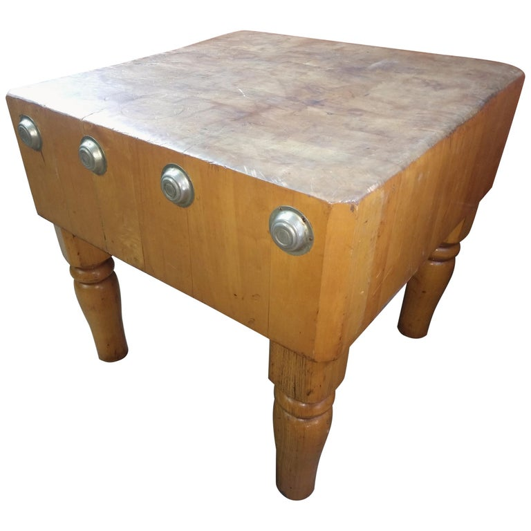 Large Butchers Block Table, C1920 For Sale